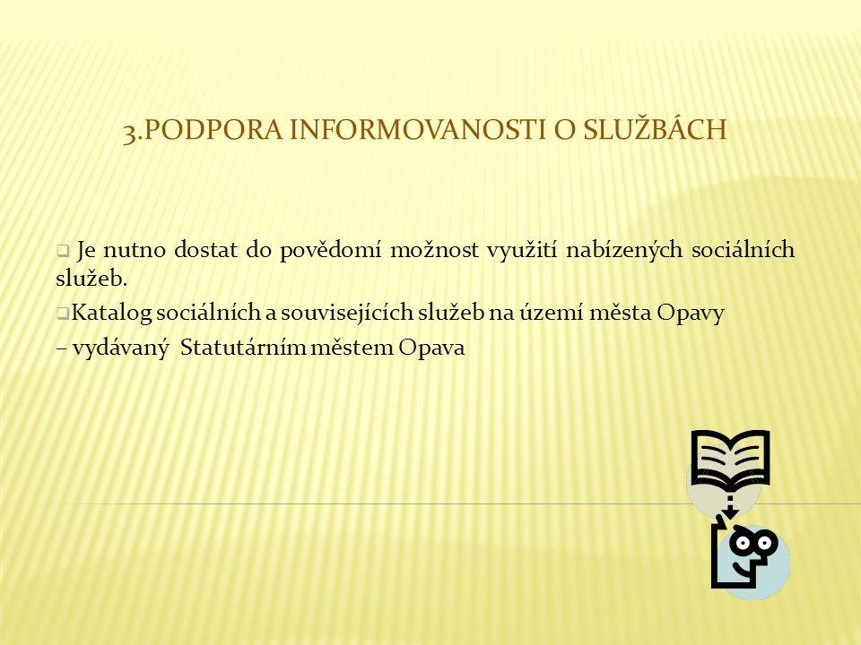 3.PODPORA INFORMOVANOSTI O SLUŽBÁCH  Je nutno dostat do povědomí možnost využití nabízených sociálních služeb.  Katalog sociálních a souvisejících s