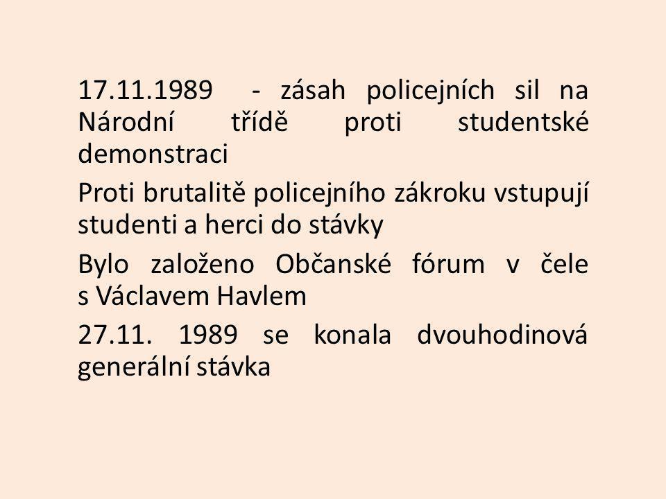 17.11.1989 - zásah policejních sil na Národní třídě proti studentské demonstraci Proti brutalitě policejního zákroku vstupují studenti a herci do stávky Bylo založeno Občanské fórum v čele s Václavem Havlem 27.11.