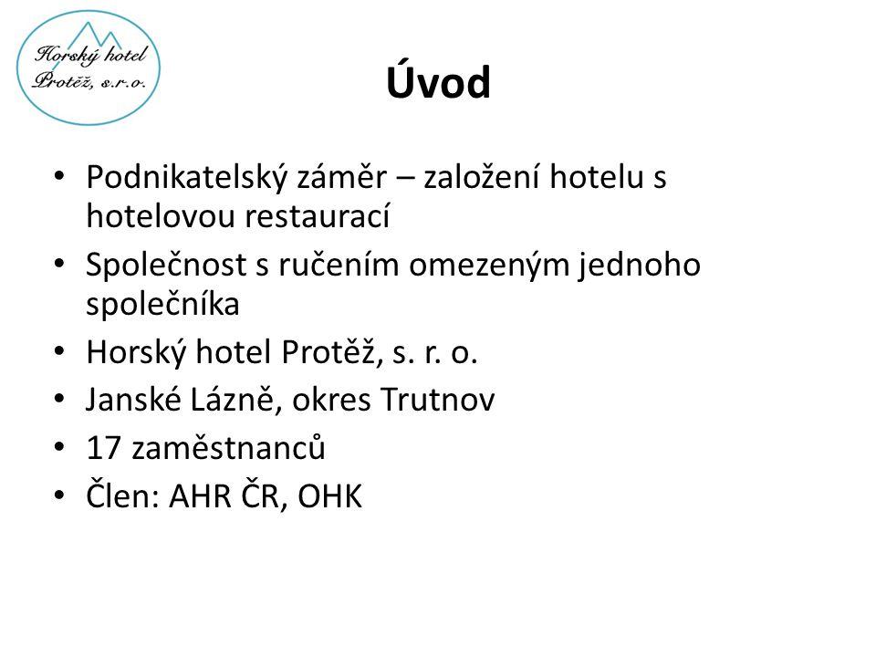 Úvod • Podnikatelský záměr – založení hotelu s hotelovou restaurací • Společnost s ručením omezeným jednoho společníka • Horský hotel Protěž, s. r. o.