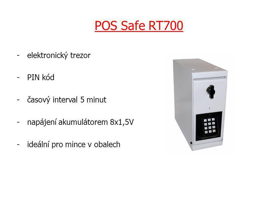 POS Safe RT700 -elektronický trezor -PIN kód -časový interval 5 minut -napájení akumulátorem 8x1,5V -ideální pro mince v obalech