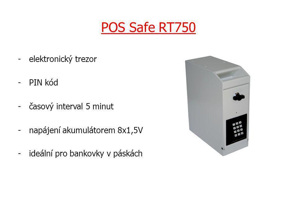POS Safe RT750 -elektronický trezor -PIN kód -časový interval 5 minut -napájení akumulátorem 8x1,5V -ideální pro bankovky v páskách