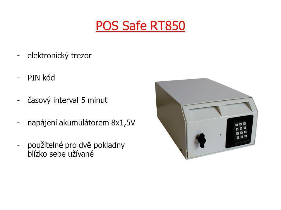 POS Safe RT850 -elektronický trezor -PIN kód -časový interval 5 minut -napájení akumulátorem 8x1,5V -použitelné pro dvě pokladny blízko sebe užívané