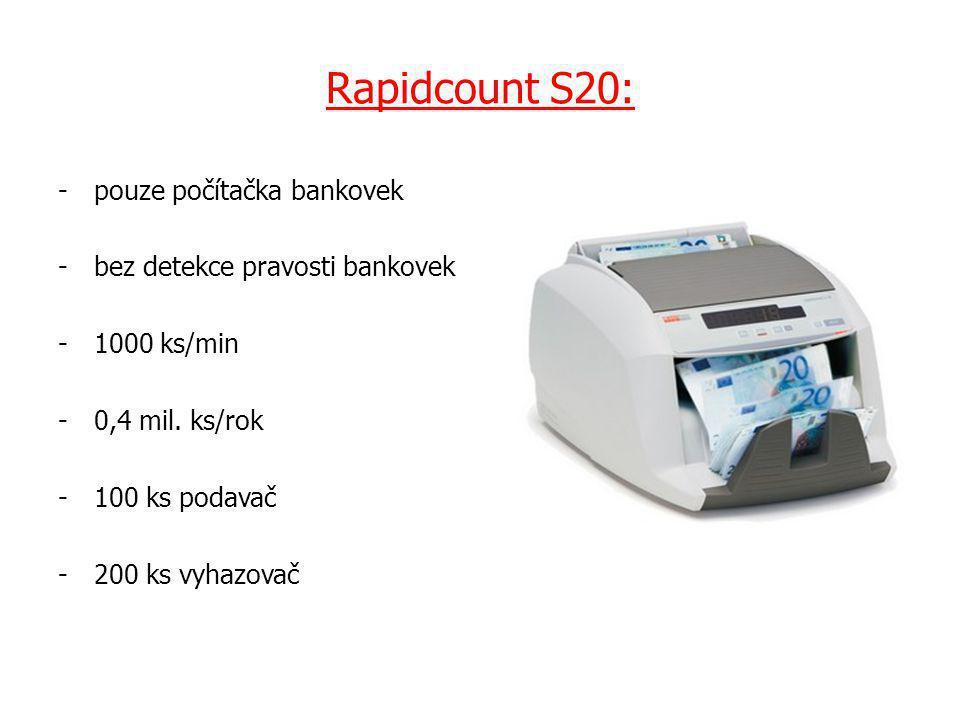 Rapidcount S20: -pouze počítačka bankovek -bez detekce pravosti bankovek -1000 ks/min -0,4 mil.