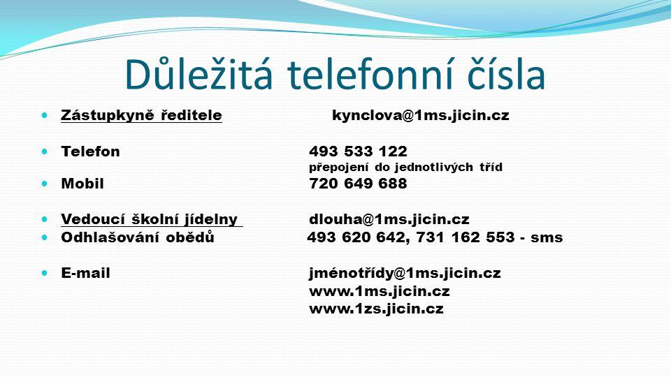 Důležitá telefonní čísla  Zástupkyně ředitele kynclova@1ms.jicin.cz  Telefon493 533 122 přepojení do jednotlivých tříd  Mobil720 649 688  Vedoucí