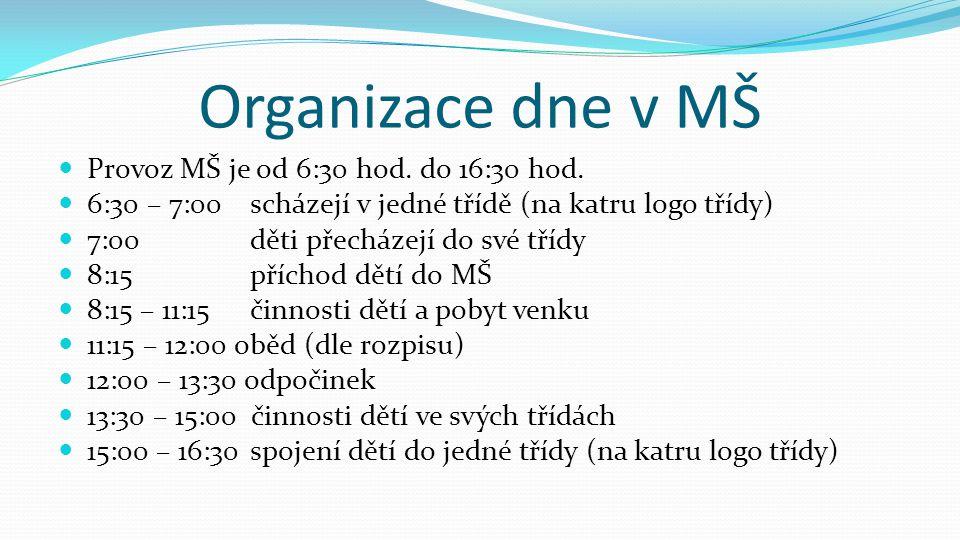 Organizace dne v MŠ  Provoz MŠ je od 6:30 hod. do 16:30 hod.  6:30 – 7:00scházejí v jedné třídě (na katru logo třídy)  7:00děti přecházejí do své t