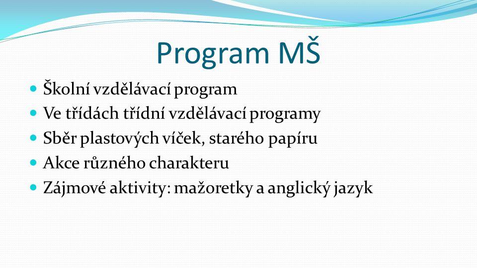 Program MŠ  Školní vzdělávací program  Ve třídách třídní vzdělávací programy  Sběr plastových víček, starého papíru  Akce různého charakteru  Záj