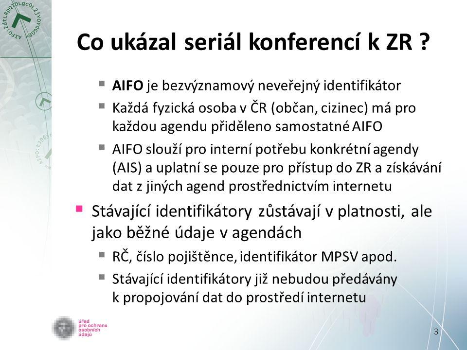 3 Co ukázal seriál konferencí k ZR ?  AIFO je bezvýznamový neveřejný identifikátor  Každá fyzická osoba v ČR (občan, cizinec) má pro každou agendu p