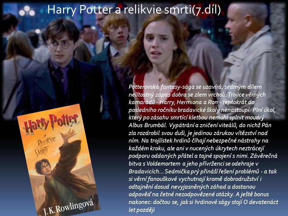 Potterovská fantasy-sága se uzavírá, sedmým dílem nelítostný zápas dobra se zlem vrcholí. Trojice věrných kamarádů - Harry, Hermiona a Ron - tentokrát