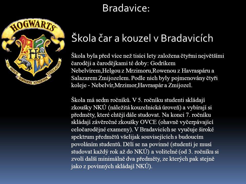 Škola čar a kouzel v Bradavicích Škola byla před více než tisíci lety založena čtyřmi největšími čaroději a čarodějkami té doby: Godrikem Nebelvírem,H