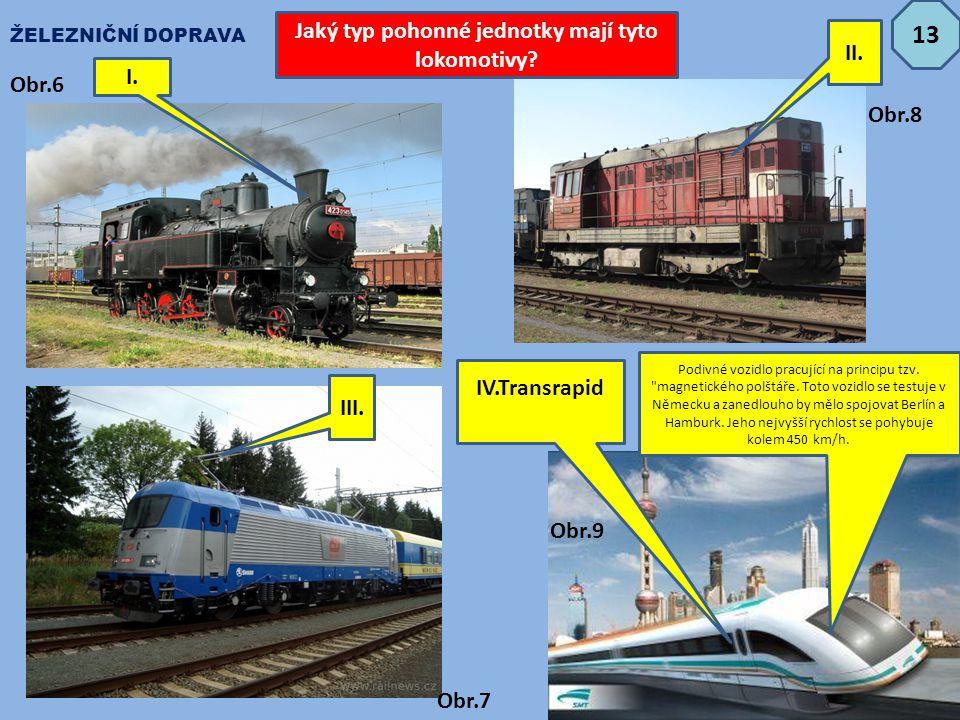 Jaký typ pohonné jednotky mají tyto lokomotivy? I. IV.Transrapid Podivné vozidlo pracující na principu tzv.