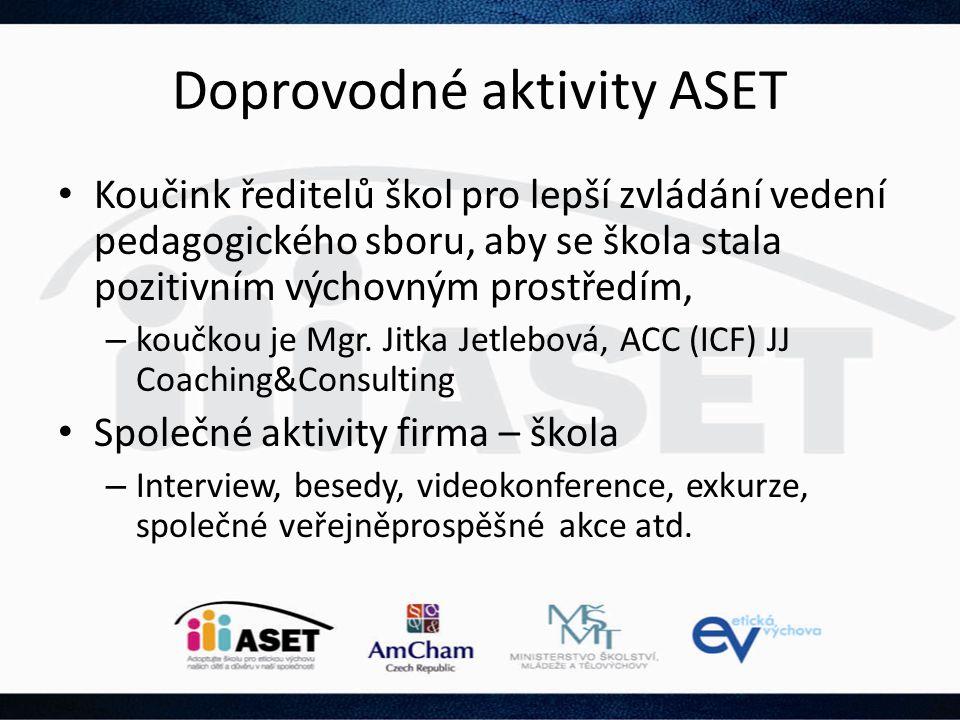 Doprovodné aktivity ASET • Koučink ředitelů škol pro lepší zvládání vedení pedagogického sboru, aby se škola stala pozitivním výchovným prostředím, –