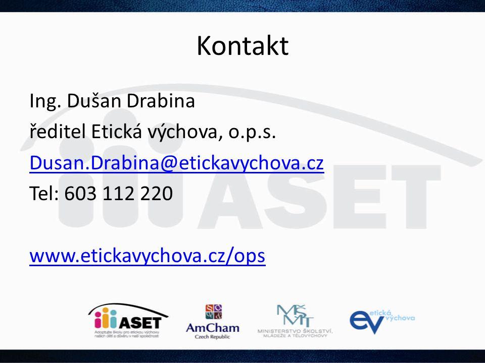 Kontakt Ing. Dušan Drabina ředitel Etická výchova, o.p.s. Dusan.Drabina@etickavychova.cz Tel: 603 112 220 www.etickavychova.cz/ops
