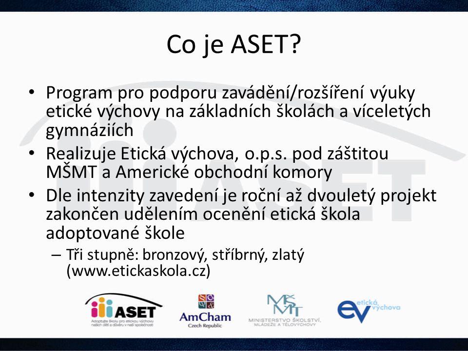 Co je ASET? • Program pro podporu zavádění/rozšíření výuky etické výchovy na základních školách a víceletých gymnáziích • Realizuje Etická výchova, o.