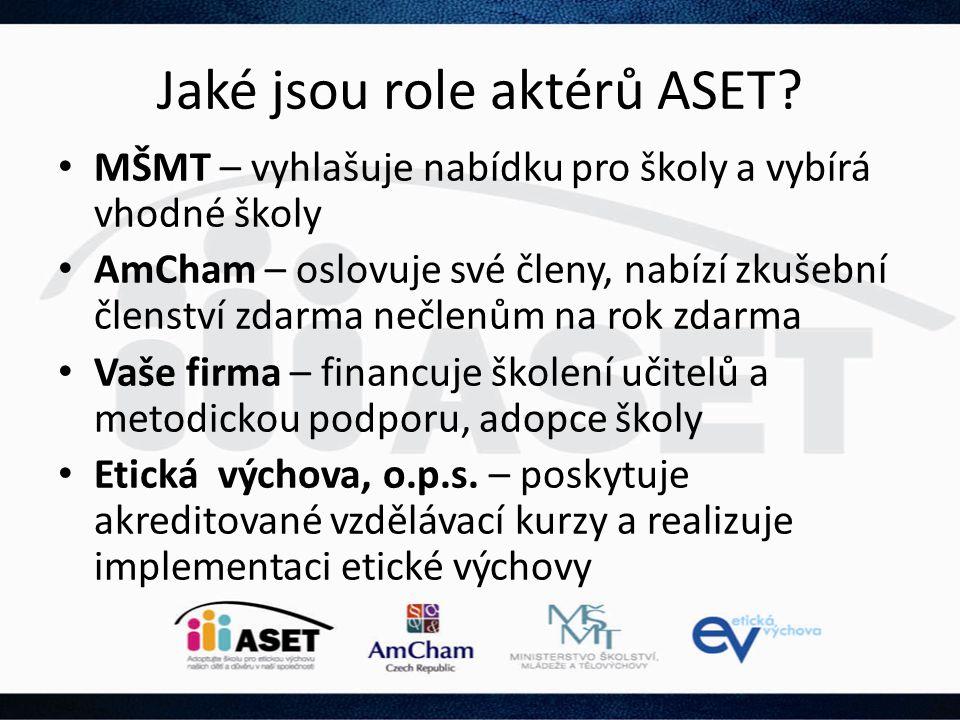 Jaké jsou role aktérů ASET? • MŠMT – vyhlašuje nabídku pro školy a vybírá vhodné školy • AmCham – oslovuje své členy, nabízí zkušební členství zdarma