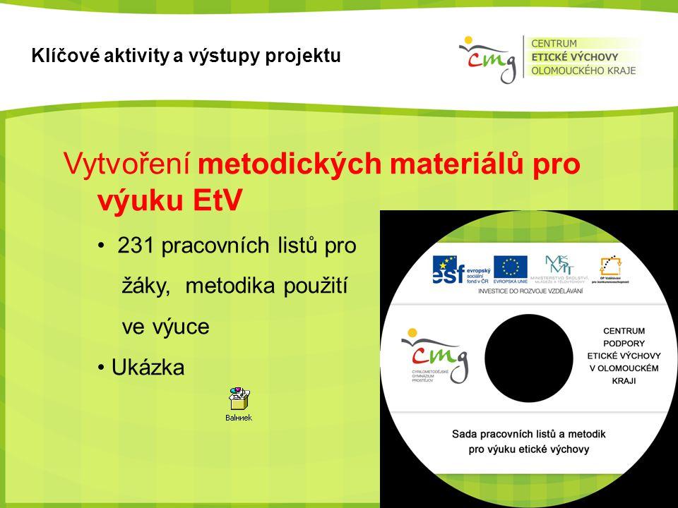 Klíčové aktivity a výstupy projektu Vytvoření metodických materiálů pro výuku EtV • 231 pracovních listů pro žáky, metodika použití ve výuce • Ukázka