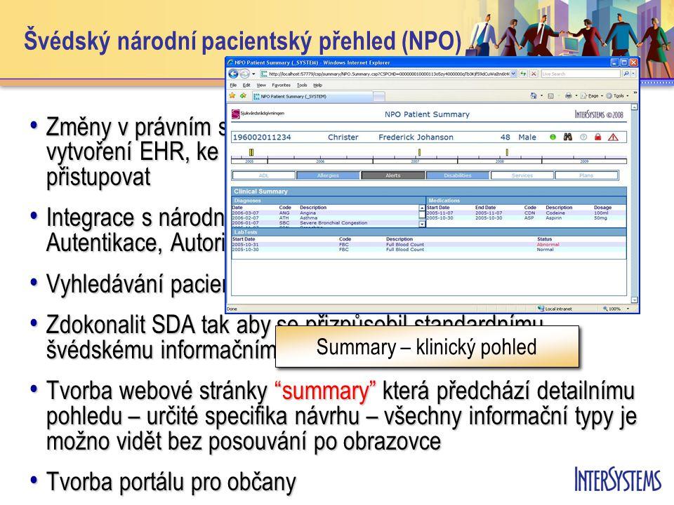 Švédský národní pacientský přehled (NPO) • Změny v právním systému Švédska tak, aby bylo možno vytvoření EHR, ke kterému by mohli profesionálové kdykoliv přistupovat • Integrace s národní bezpečnostní infrastrukturou (BIF) - Autentikace, Autorizace and Logování • Vyhledávání pacientů pomocí tzv.