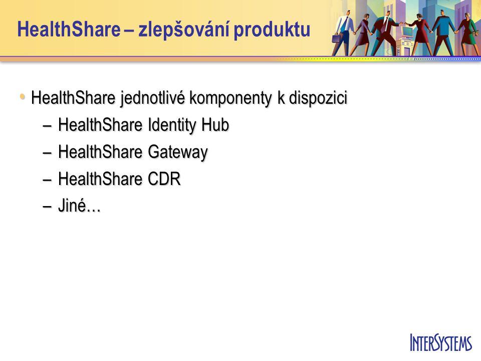 • HealthShare jednotlivé komponenty k dispozici –HealthShare Identity Hub –HealthShare Gateway –HealthShare CDR –Jiné… HealthShare – zlepšování produktu