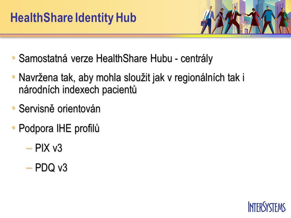 HealthShare Identity Hub • Samostatná verze HealthShare Hubu - centrály • Navržena tak, aby mohla sloužit jak v regionálních tak i národních indexech pacientů • Servisně orientován • Podpora IHE profilů – PIX v3 – PDQ v3