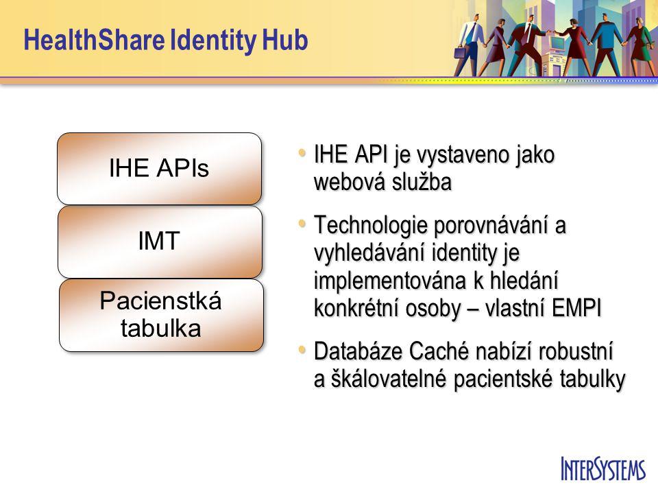 HealthShare Identity Hub • IHE API je vystaveno jako webová služba • Technologie porovnávání a vyhledávání identity je implementována k hledání konkrétní osoby – vlastní EMPI • Databáze Caché nabízí robustní a škálovatelné pacientské tabulky IMT IHE APIs Pacienstká tabulka Pacienstká tabulka