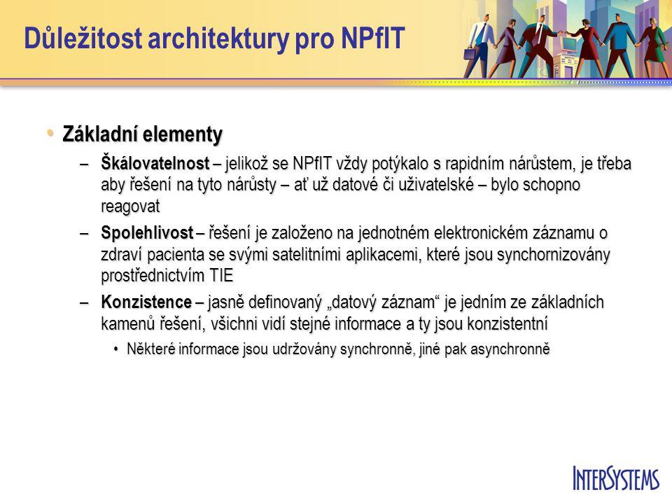 """Důležitost architektury pro NPfIT • Základní elementy – Škálovatelnost – jelikož se NPfIT vždy potýkalo s rapidním nárůstem, je třeba aby řešení na tyto nárůsty – ať už datové či uživatelské – bylo schopno reagovat – Spolehlivost – řešení je založeno na jednotném elektronickém záznamu o zdraví pacienta se svými satelitními aplikacemi, které jsou synchornizovány prostřednictvím TIE – Konzistence – jasně definovaný """"datový záznam je jedním ze základních kamenů řešení, všichni vidí stejné informace a ty jsou konzistentní •Některé informace jsou udržovány synchronně, jiné pak asynchronně"""