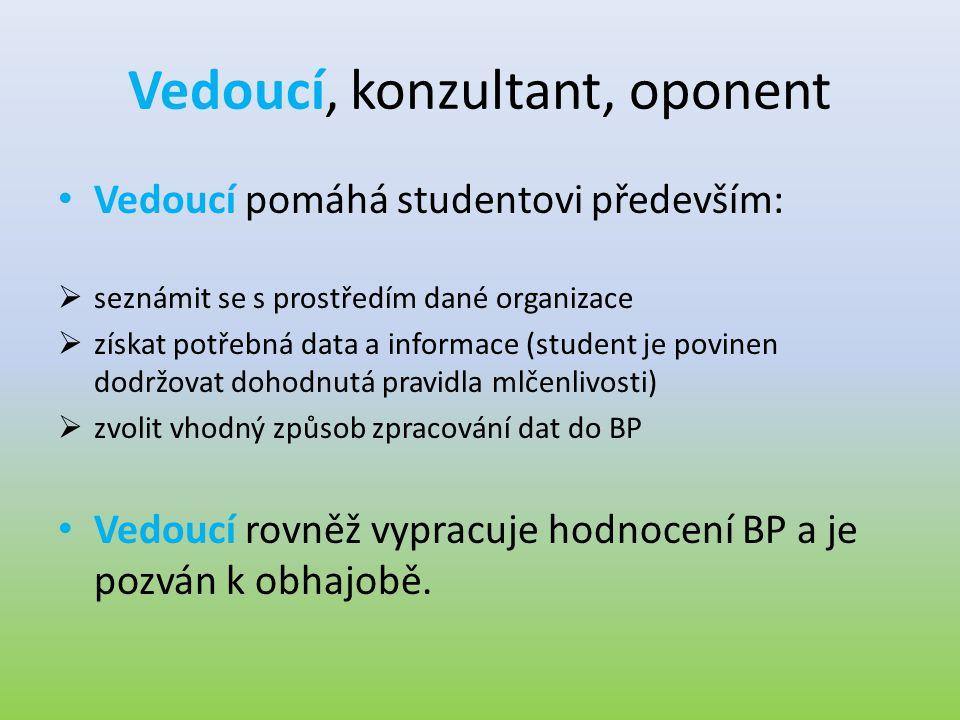Vedoucí, konzultant, oponent • Vedoucí pomáhá studentovi především:  seznámit se s prostředím dané organizace  získat potřebná data a informace (stu
