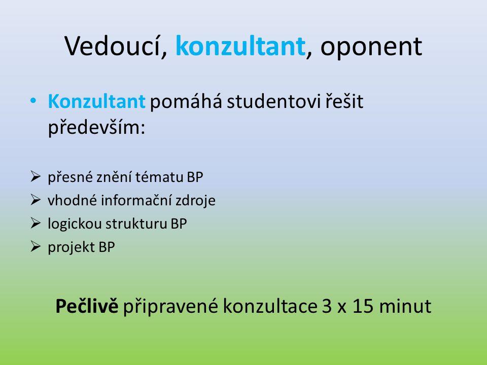 Vedoucí, konzultant, oponent • Konzultant pomáhá studentovi řešit především:  přesné znění tématu BP  vhodné informační zdroje  logickou strukturu