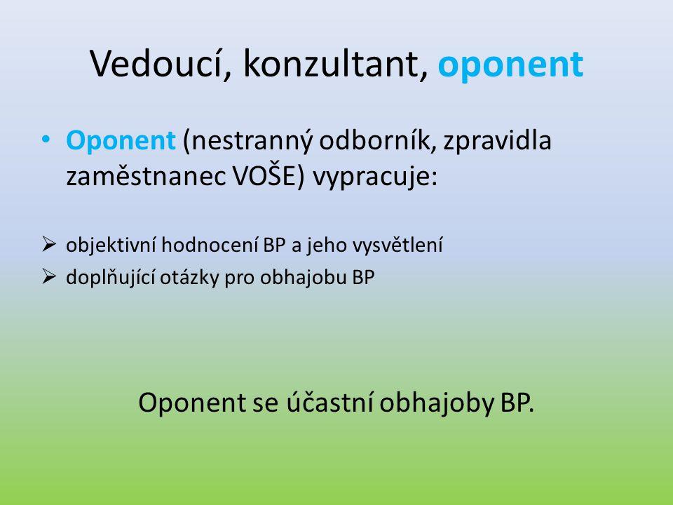 Vedoucí, konzultant, oponent • Oponent (nestranný odborník, zpravidla zaměstnanec VOŠE) vypracuje:  objektivní hodnocení BP a jeho vysvětlení  doplň