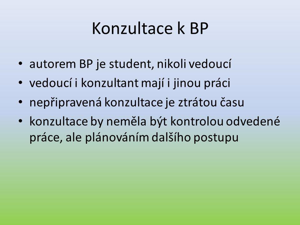 Konzultace k BP • autorem BP je student, nikoli vedoucí • vedoucí i konzultant mají i jinou práci • nepřipravená konzultace je ztrátou času • konzulta