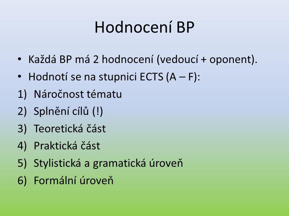 Hodnocení BP • Každá BP má 2 hodnocení (vedoucí + oponent). • Hodnotí se na stupnici ECTS (A – F): 1)Náročnost tématu 2)Splnění cílů (!) 3)Teoretická