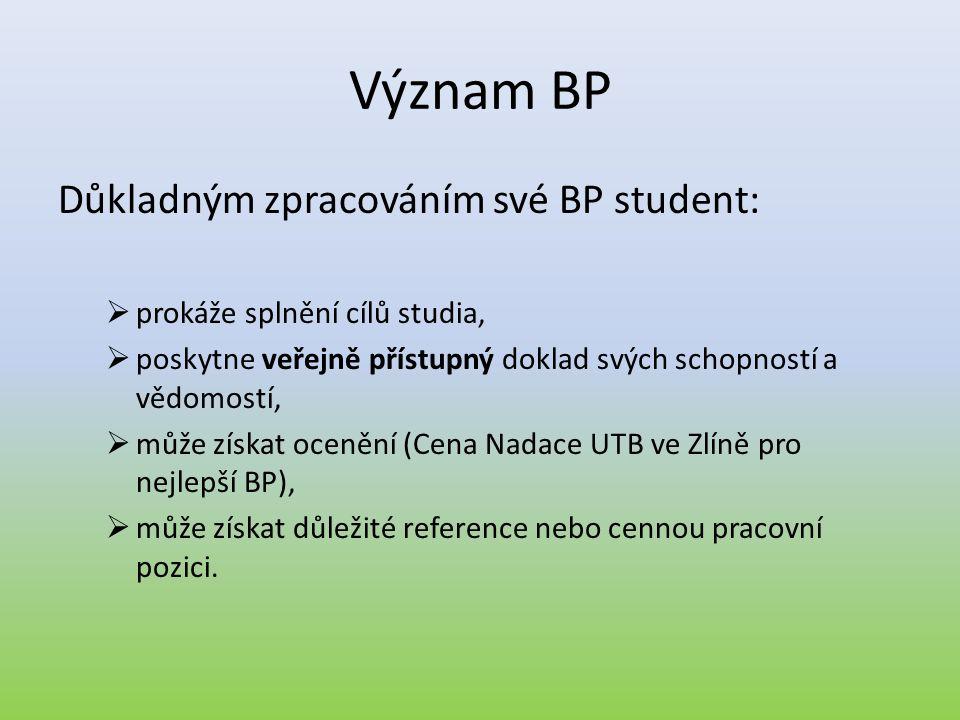 Význam BP Důkladným zpracováním své BP student:  prokáže splnění cílů studia,  poskytne veřejně přístupný doklad svých schopností a vědomostí,  můž