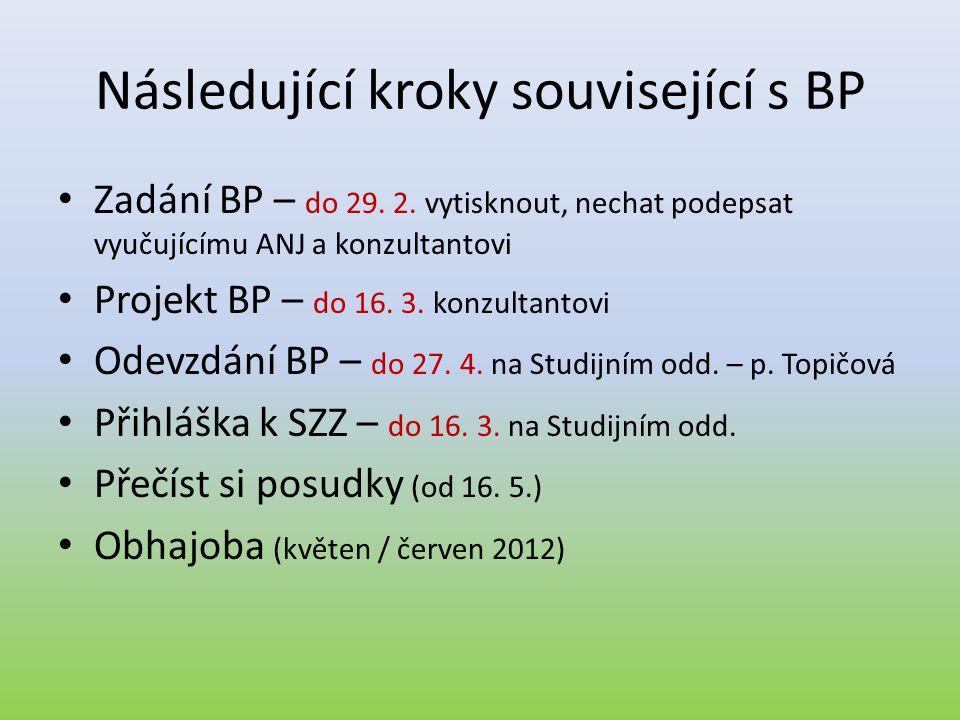 Následující kroky související s BP • Zadání BP – do 29. 2. vytisknout, nechat podepsat vyučujícímu ANJ a konzultantovi • Projekt BP – do 16. 3. konzul
