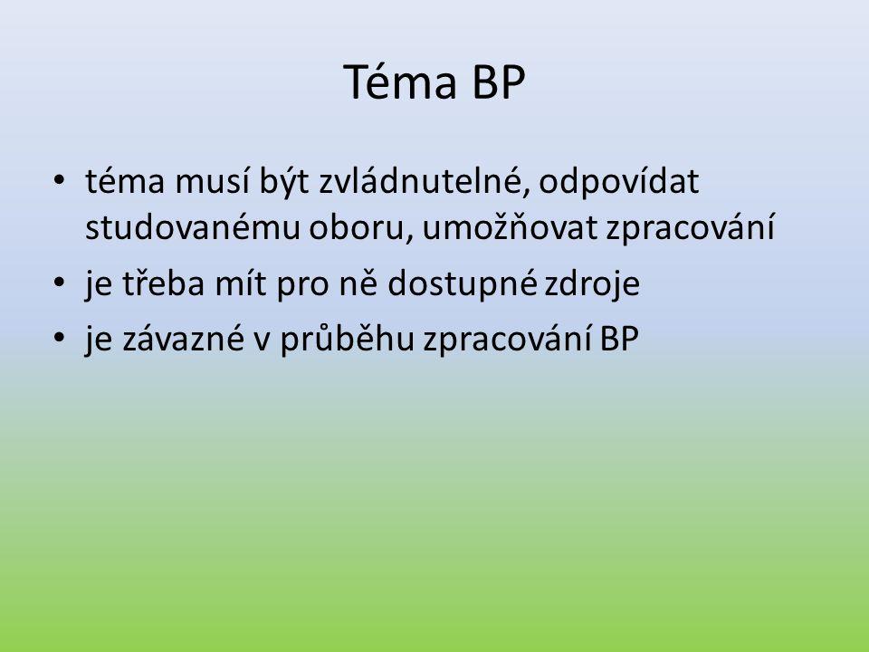 Projekt BP • Rozsah: 1 – 2 strany (vyvážené – nejméně polovinu by mělo tvořit stanovení cílů BP a plánovaný postup řešení) • Obsah:  téma BP  abstrakt  klíčová slova  jasně definované cíle  postup řešení  seznam relevantních zdrojů (5 – 10 titulů)