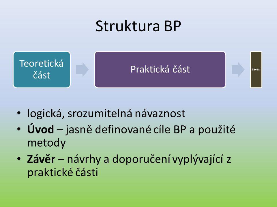 Struktura BP • logická, srozumitelná návaznost • Úvod – jasně definované cíle BP a použité metody • Závěr – návrhy a doporučení vyplývající z praktick