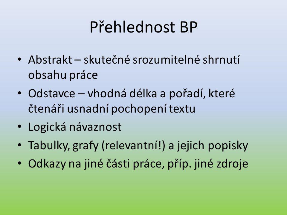 Přehlednost BP • Abstrakt – skutečné srozumitelné shrnutí obsahu práce • Odstavce – vhodná délka a pořadí, které čtenáři usnadní pochopení textu • Log