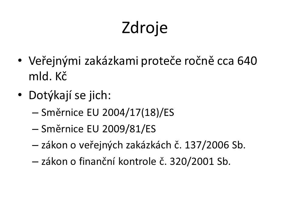 Zdroje • Veřejnými zakázkami proteče ročně cca 640 mld. Kč • Dotýkají se jich: – Směrnice EU 2004/17(18)/ES – Směrnice EU 2009/81/ES – zákon o veřejný