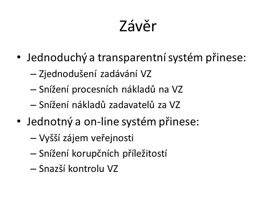 Závěr • Jednoduchý a transparentní systém přinese: – Zjednodušení zadávání VZ – Snížení procesních nákladů na VZ – Snížení nákladů zadavatelů za VZ •