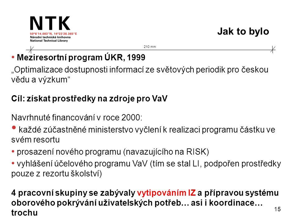 """210 mm Jak to bylo 15 • Meziresortní program ÚKR, 1999 """"Optimalizace dostupnosti informací ze světových periodik pro českou vědu a výzkum Cíl: získat prostředky na zdroje pro VaV Navrhnuté financování v roce 2000: • každé zúčastněné ministerstvo vyčlení k realizaci programu částku ve svém resortu • prosazení nového programu (navazujícího na RISK) • vyhlášení účelového programu VaV (tím se stal LI, podpořen prostředky pouze z rezortu školství) 4 pracovní skupiny se zabývaly vytipováním IZ a přípravou systému oborového pokrývání uživatelských potřeb… asi i koordinace… trochu"""