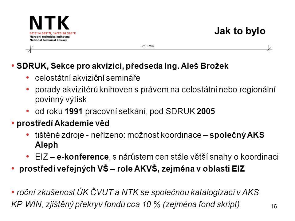 210 mm Jak to bylo 16 • SDRUK, Sekce pro akvizici, předseda Ing. Aleš Brožek • celostátní akviziční semináře • porady akvizitérů knihoven s právem na