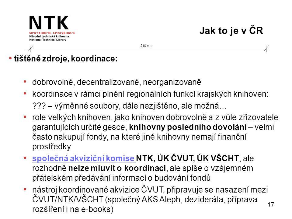 210 mm Jak to je v ČR 17 • tištěné zdroje, koordinace: • dobrovolně, decentralizovaně, neorganizovaně • koordinace v rámci plnění regionálních funkcí krajských knihoven: ??.