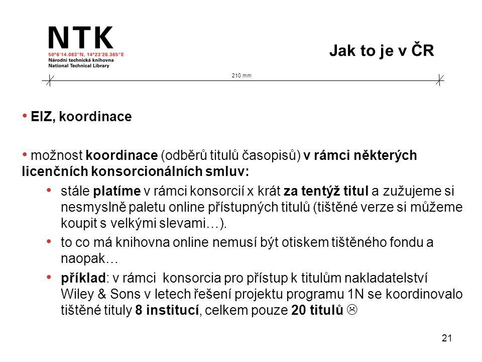210 mm Jak to je v ČR 21 • EIZ, koordinace • možnost koordinace (odběrů titulů časopisů) v rámci některých licenčních konsorcionálních smluv: • stále
