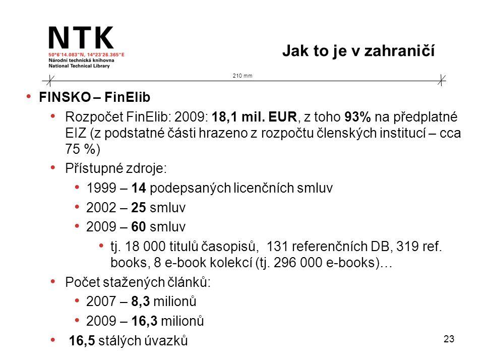 210 mm Jak to je v zahraničí 23 • FINSKO – FinElib • Rozpočet FinElib: 2009: 18,1 mil. EUR, z toho 93% na předplatné EIZ (z podstatné části hrazeno z