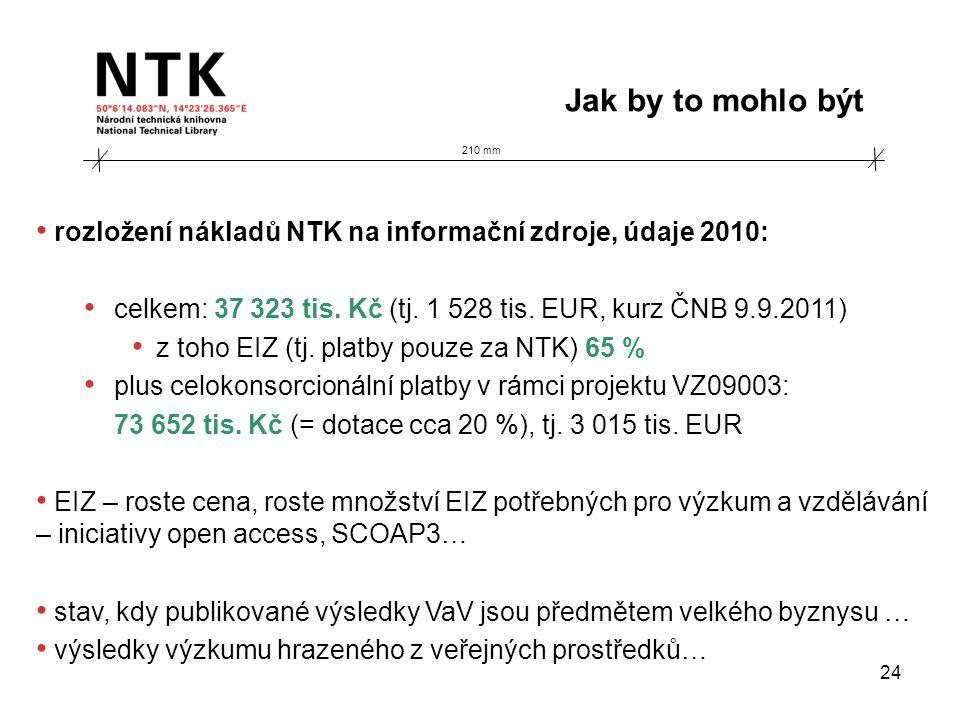 210 mm Jak by to mohlo být 24 • rozložení nákladů NTK na informační zdroje, údaje 2010: • celkem: 37 323 tis. Kč (tj. 1 528 tis. EUR, kurz ČNB 9.9.201