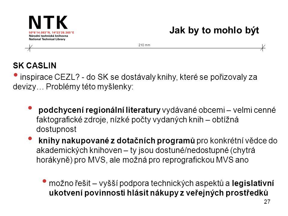 210 mm Jak by to mohlo být 27 SK CASLIN • inspirace CEZL? - do SK se dostávaly knihy, které se pořizovaly za devizy… Problémy této myšlenky: • podchyc