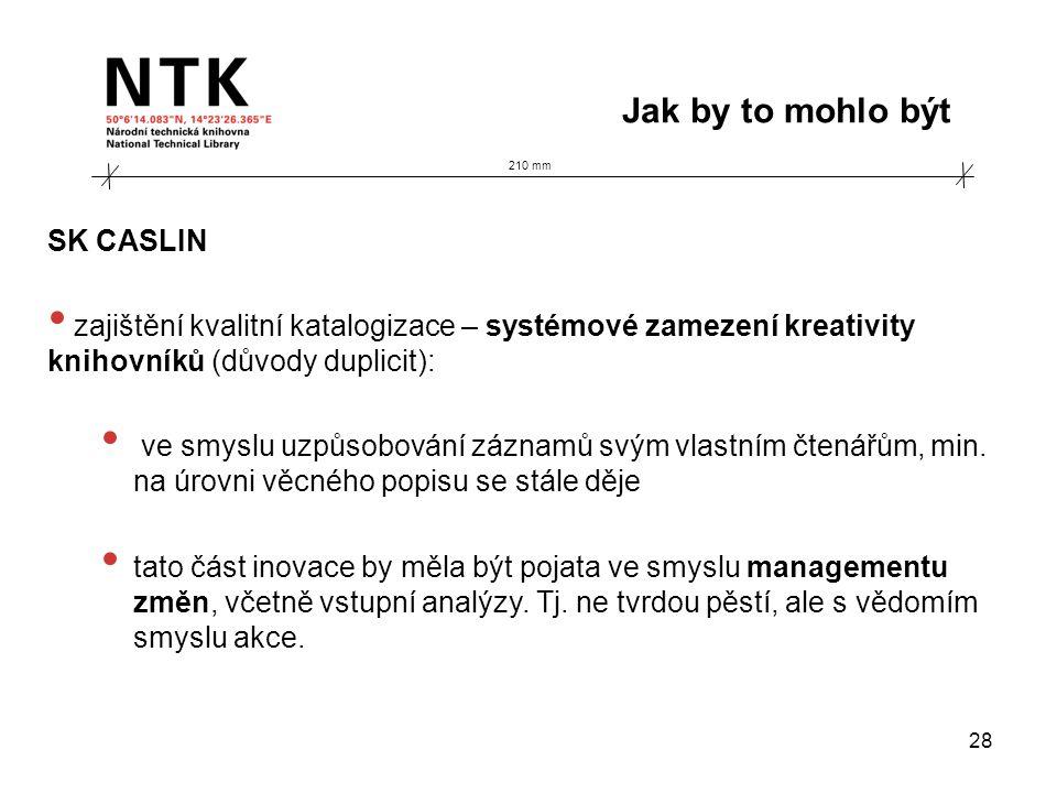 210 mm Jak by to mohlo být 28 SK CASLIN • zajištění kvalitní katalogizace – systémové zamezení kreativity knihovníků (důvody duplicit): • ve smyslu uzpůsobování záznamů svým vlastním čtenářům, min.