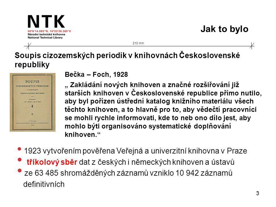 """210 mm Jak to bylo 3 Bečka – Foch, 1928 """" Zakládání nových knihoven a značné rozšiřování již starších knihoven v Československé republice přímo nutilo, aby byl pořízen ústřední katalog knižního materiálu všech těchto knihoven, a to hlavně pro to, aby vědečtí pracovníci se mohli rychle informovati, kde to neb ono dílo jest, aby mohlo býti organisováno systematické doplňování knihoven. • 1923 vytvořením pověřena Veřejná a univerzitní knihovna v Praze • tříkolový sběr dat z českých i německých knihoven a ústavů • ze 63 485 shromážděných záznamů vzniklo 10 942 záznamů definitivních Soupis cizozemských periodik v knihovnách Československé republiky"""