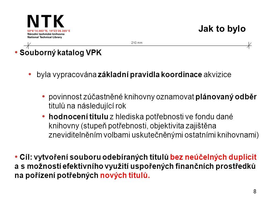 210 mm Jak to bylo 8 • Souborný katalog VPK • byla vypracována základní pravidla koordinace akvizice • povinnost zúčastněné knihovny oznamovat plánova