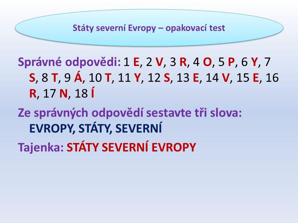 Správné odpovědi: 1 E, 2 V, 3 R, 4 O, 5 P, 6 Y, 7 S, 8 T, 9 Á, 10 T, 11 Y, 12 S, 13 E, 14 V, 15 E, 16 R, 17 N, 18 Í Ze správných odpovědí sestavte tři