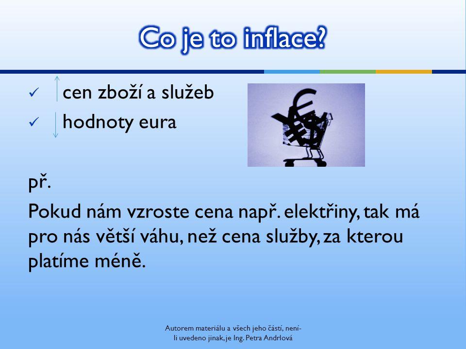  cen zboží a služeb  hodnoty eura př. Pokud nám vzroste cena např. elektřiny, tak má pro nás větší váhu, než cena služby, za kterou platíme méně. Au
