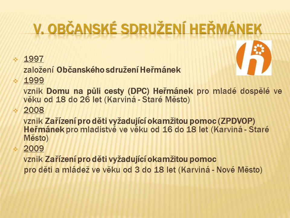  1997 založení Občanského sdružení Heřmánek  1999 vznik Domu na půli cesty (DPC) Heřmánek pro mladé dospělé ve věku od 18 do 26 let (Karviná - Staré