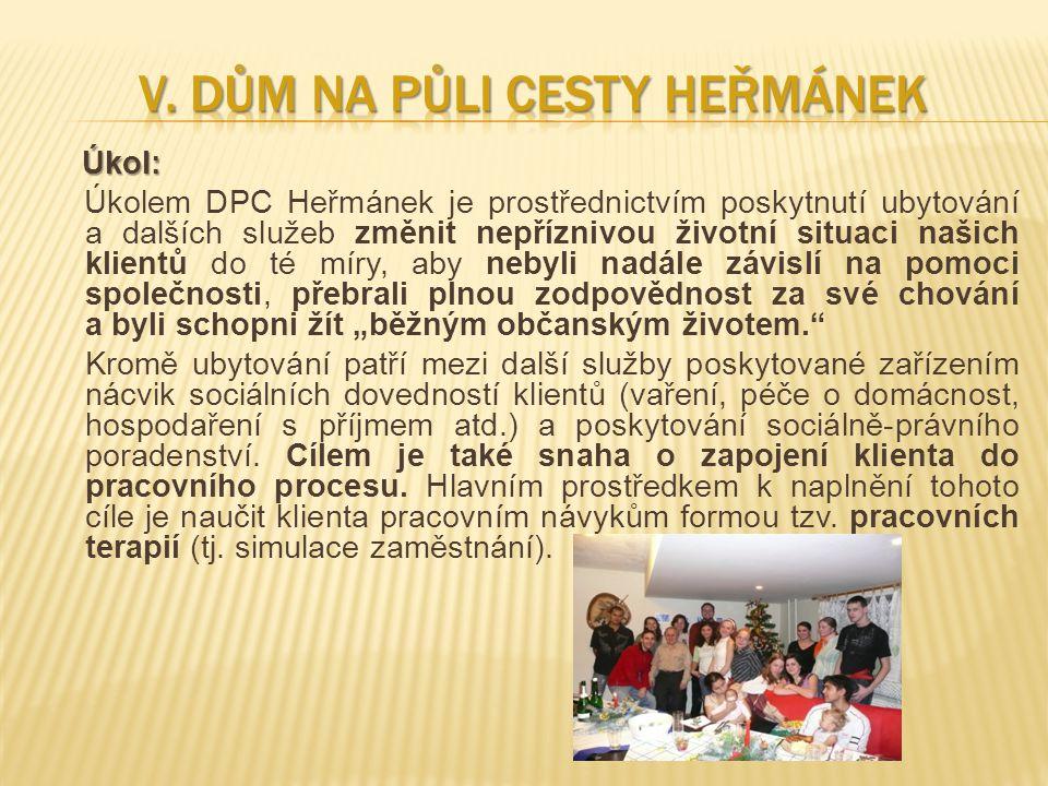 Úkol: Úkol: Úkolem DPC Heřmánek je prostřednictvím poskytnutí ubytování a dalších služeb změnit nepříznivou životní situaci našich klientů do té míry,